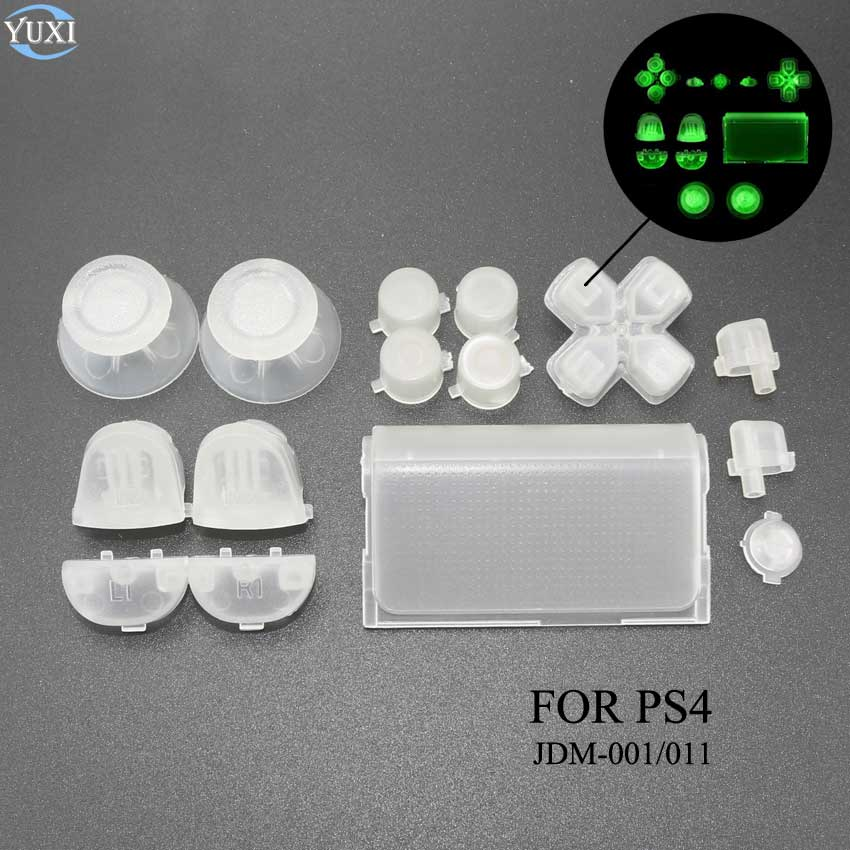 YuXi Luminous Full Buttons Mod Kit For Sony PlayStation Dualshock 4 PS4 Controller R2 L2 R1 L1 Trigger Buttons Game Accessories