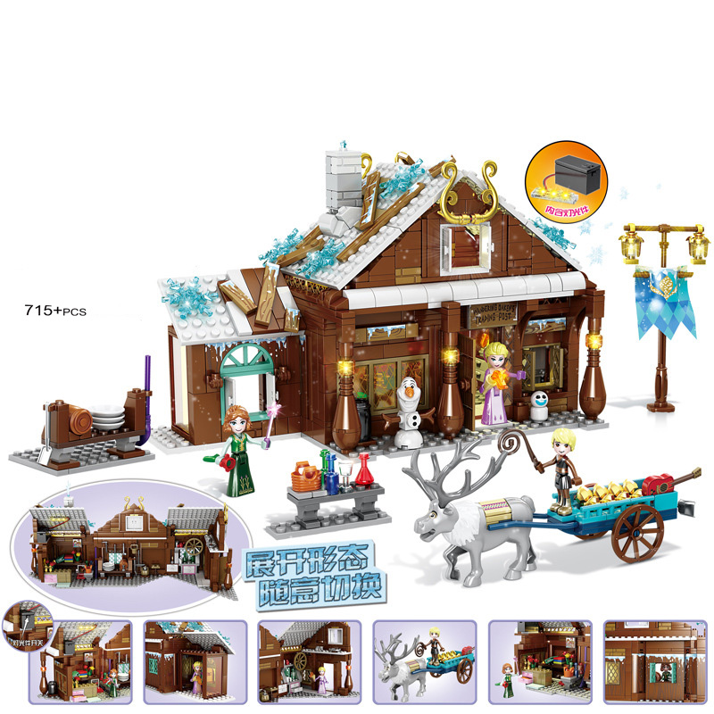 Fairy Princess Girl Series Anna Aisha Winter Snow World <font><b>grocery</b></font> <font><b>store</b></font> Magic Castle building blocks <font><b>Toys</b></font> Gifts image