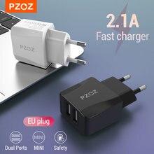 Pzoz carregador usb viagem plugue da ue 2a adaptador de carregamento rápido portátil carregador de parede dupla cabo do telefone móvel para iphone samsung xiaomi