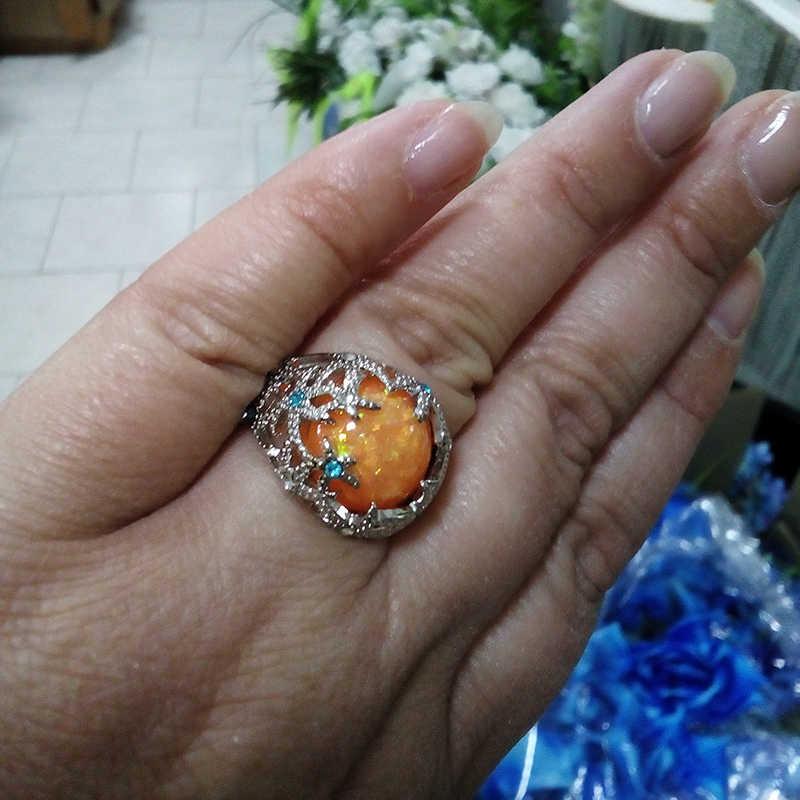 """Màu Cam Cháy Nhẫn Nữ Opal Xanh Dương Kim Cương Giả Sao Biển Nhẫn Pha Lê Dành Cho Nữ Cưới Dương Đảng Bộ Trang Sức Cao Cấp Anillos Mujer """"O3X999"""