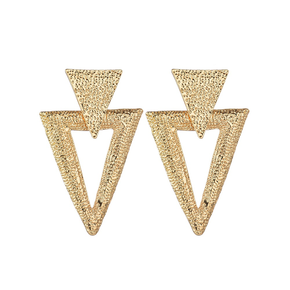 Korean-style Simple Trend Geometric Metal Alloy Earrings AliExpress Fashion And Personality Ol Wind Inverted Triangular Ear Stud