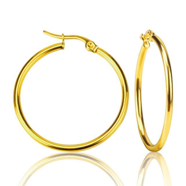 LUXUSTEEL 1Pair Ear Hoop Earring aretes Mujer Round Circle Stainless Steel Earring Lead Nickel Free Jewelry Brinco Party Collier