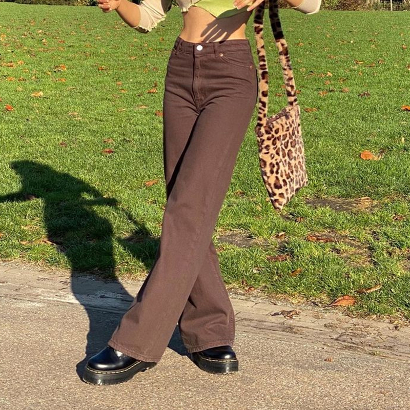 Aspiring Vintage Brown Y2k Jeans For Girls Female Fashion Women's Classic Wide Denim Pants 2021new High Waisted Trouser Harajuku Capris Lovely Luster