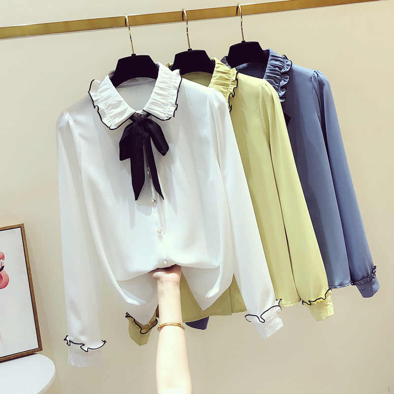 fashionable new female mint chiffon long sleeve shirt lace small unlined upper garment of bowknot is small the students