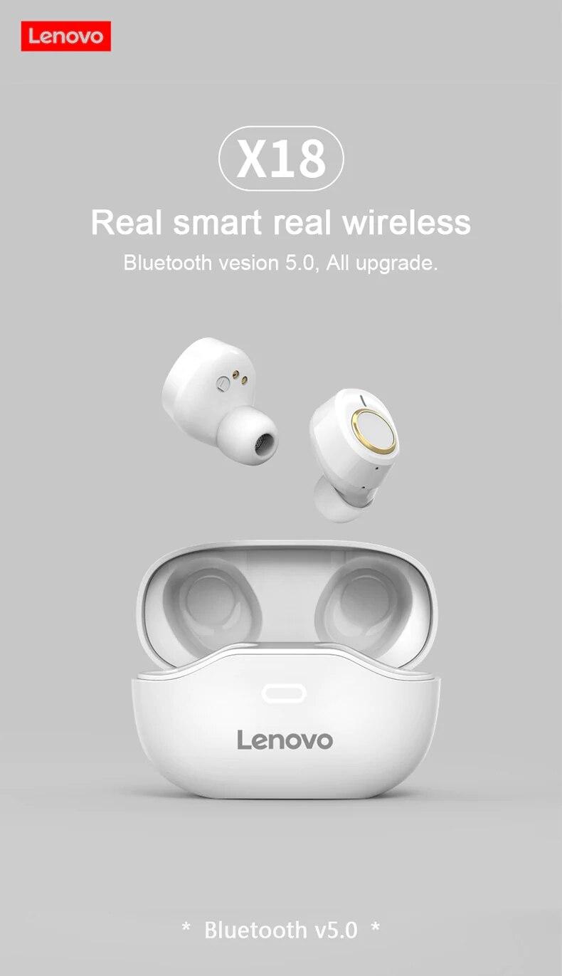Lenovo X18 TWS Earphone Wireless Bluetooth 5.0 Super Light Earplug Long battery Touch Keys Headset Sweatproof Sports Earbuds (1)