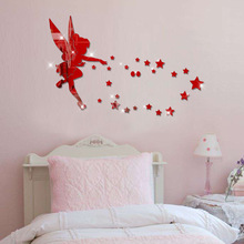Red Cartoon Character Wall Stickers Acrylic Mirror Sticker 3D Angel in the World Stereo Wedding Room Decoration
