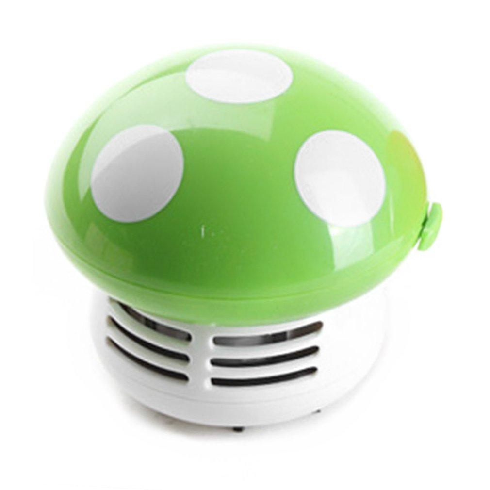 Cute Mini Mushroom Desk Vacuum Cleaner Corner Desk Table Dust Collector Sweeper Computer Cleaning Tools 5 Colors|Cleaning Brushes| |  - title=