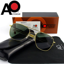Qualidade superior do exército americano militar piloto ao óculos de sol lente vidro dos homens marca designer condução óculos masculino op55 op57