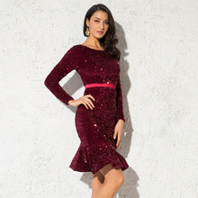 2019 NEW Burgundy Ruffles Stretchy Sequined Party Dress Long Sleeve Knee Length Lining Bodycon Tight Package Hips Club