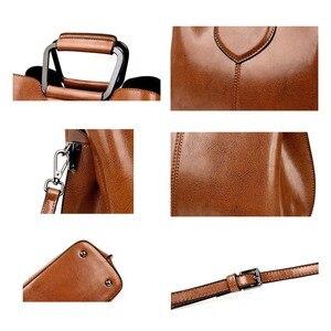 Image 5 - Женская сумка тоут из натуральной кожи, ручная сумка черного и винного цвета, 2019