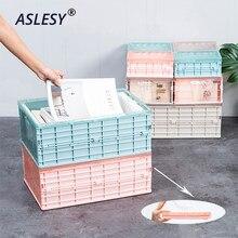 Boîte de rangement pliable en plastique, organisateur de maquillage de jouets avec couvercle, conteneur de livres, boîtes de coffre de voiture, étui d'organisation et de stockage à domicile