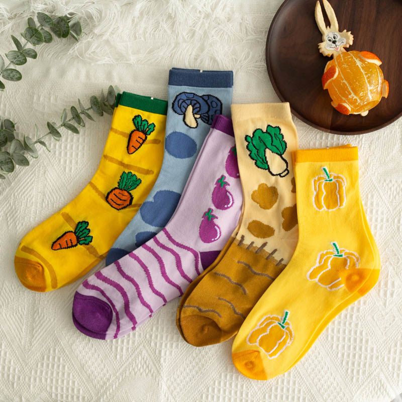 New Product Kawaii Cartoon Graffiti Personality Women Socks Lovely Fruits Vegetables Casual Candy Color Breathable Socks