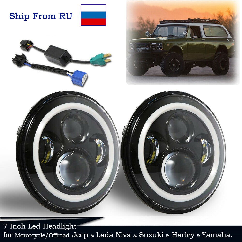 7inch Led Headlight With Halo Angel Eyes 60w Led Round Lamp For Offroad For Harley & Jeep Wrangler & Lada Niva Headlight