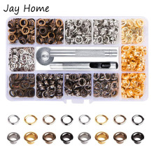 400Pcs 4 Color Brass Grommet Eyelets Kit Tool 1/4