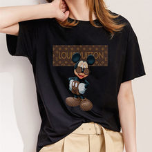 New Women's T-shir Mouse Print T-shirt Cute Mouse Head Harajuku black Short Sleeve T-shirt Fashion Girl O-collar Top TShirt(China)