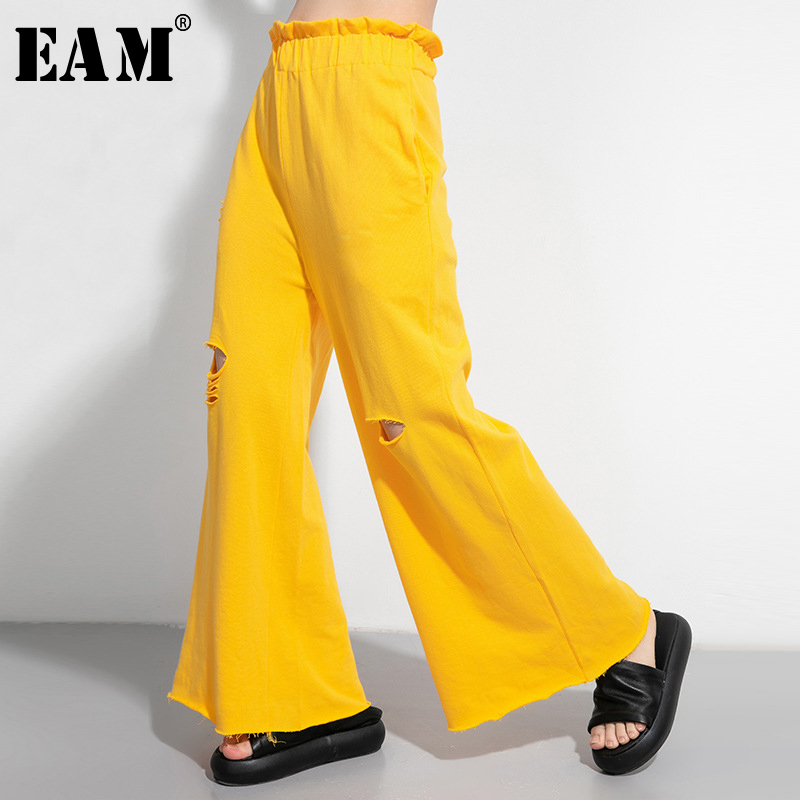 [EAM] High Elastic Waist Multicolor Hole Wide Leg Long Trousers New Loose Fit Pants Women Fashion Tide Spring Summer 2020 1U025