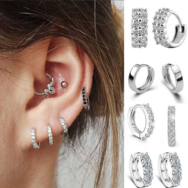 Sang Trọng Tai Đính Đá CZ Màu Bạc Hình Tròn Bông Tai Nữ Earing Trang Sức Thời Trang Nữ Bướm D'oreille Oorbellen