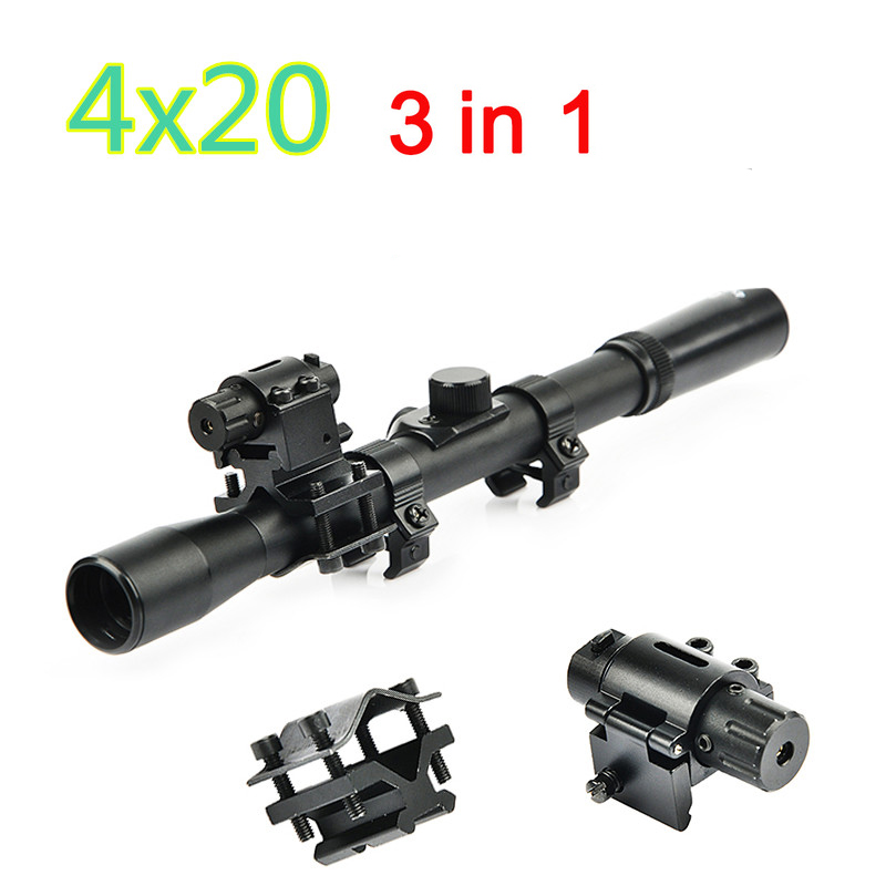 4x20 Rifle Optics Scope Tactical Armbrust Zielfernrohr mit Red Dot Laser Anblick und 11mm Schiene Halterungen für 22 kaliber Guns Jagd title=