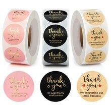 Étiquettes autocollantes de remerciement en rouleau, rondes, Kraft, rose, noir, pour magasin
