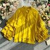 Gagarich Women Blouse Elegant 2020 Vintage Top Female Design Sense European Layer Trumpet Sleeve Long Sleeve Wild Shirt 1