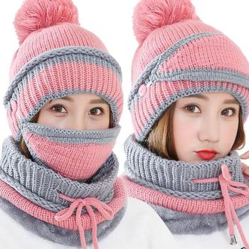 3Pcs Winter Women Thicken Warm Knitted Pompom Beanie Hat Cap Scarf Face Mask Set Christmas Gifts шапки шарфы варежки Doitbest