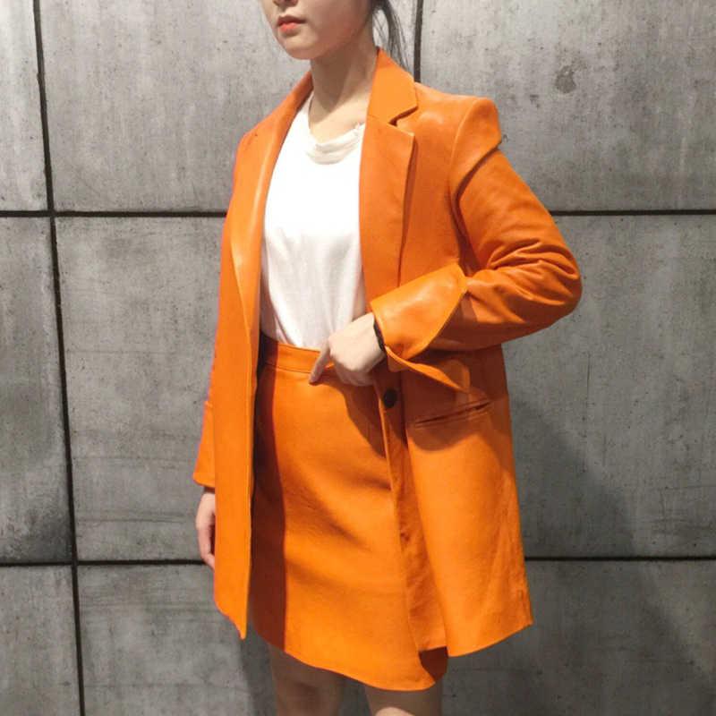 Fandy Lokar Оригинальные кожаные блейзеры женские модные импортные куртки из овчины женские элегантные карманы оранжевые костюмы женские HM