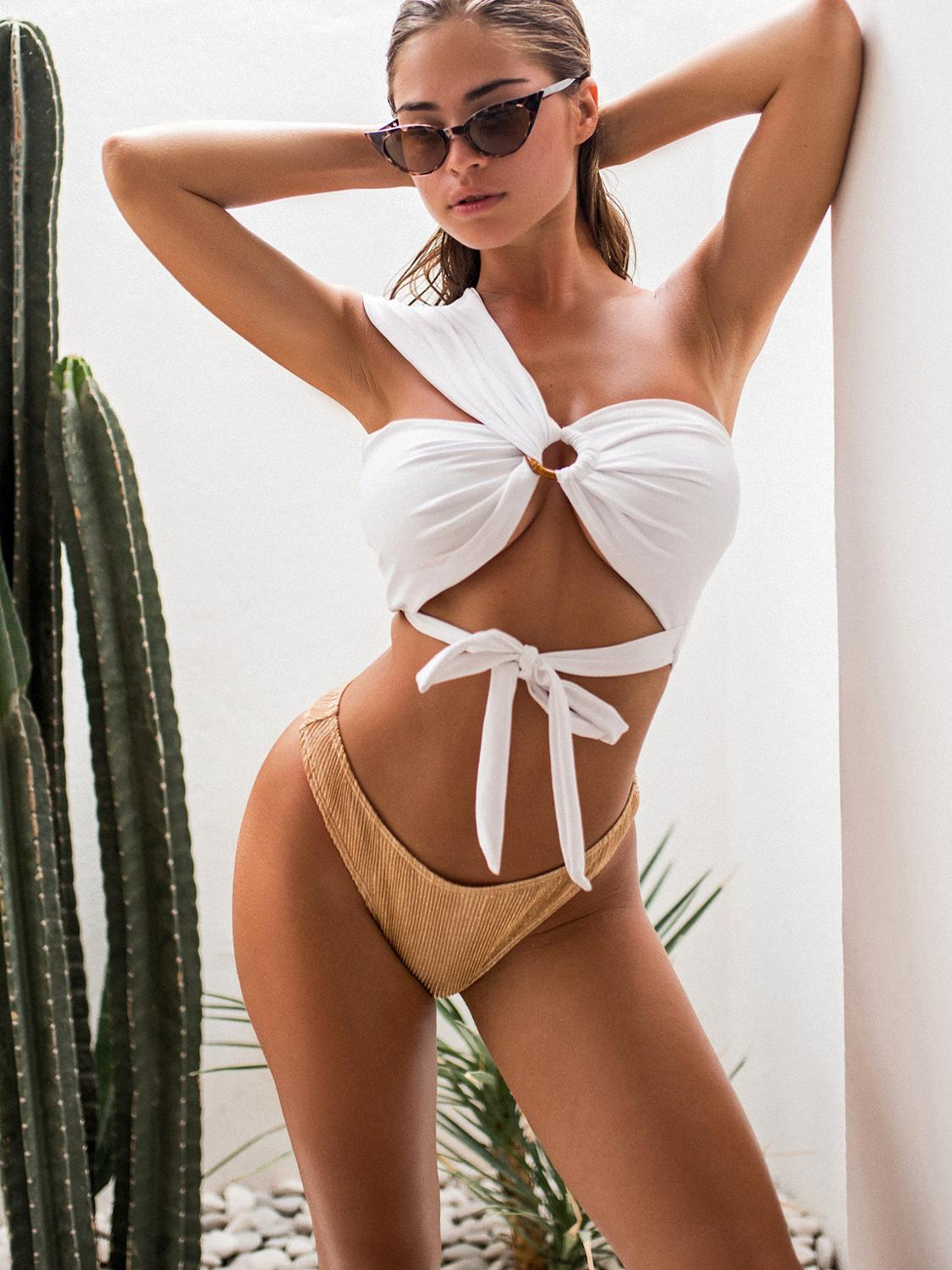 2020 Women one Shoulder Bandage Bikini New Style Women Sexy Split Swimwear Swimsuit high waist  sexy bathing suit women monokini 1