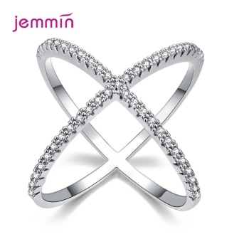 S925 Silver Jewelry X Crossing Finger Ring  Female Fashion Micro Paved CZ Crystal Rings Infinity Sign Women Party