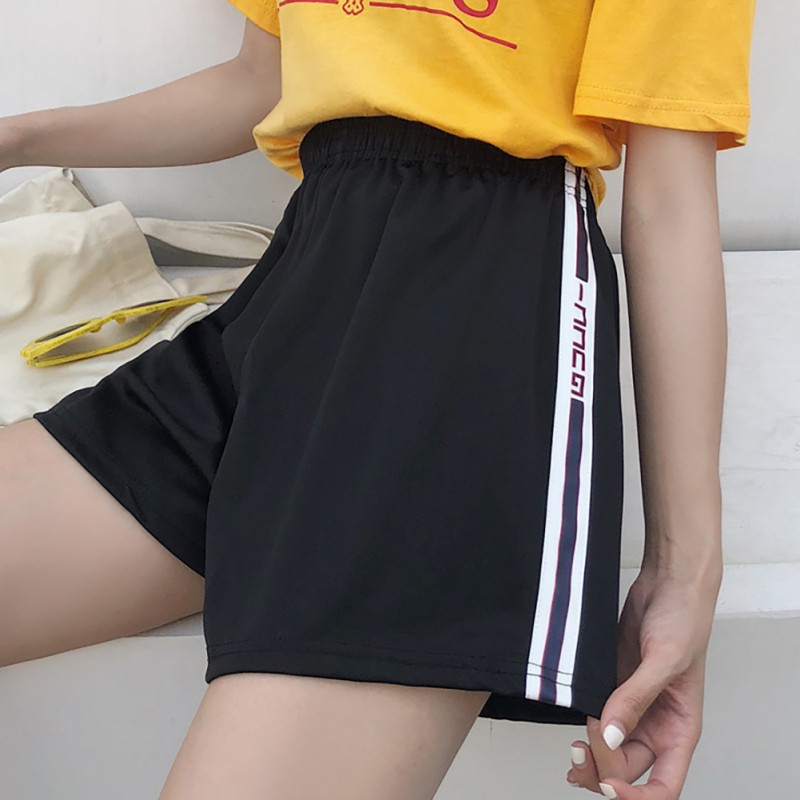 Women's Casual Female Home Wide Leg Shorts Elastic High Waist Striped & Letter Print Summer Casual Hot Loose Black