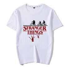 Feitong Stranger Things 100%Cotton Tshirt Men Letter Printed T-shirt Upside Down Male Shirt Harajuku Ullzang Top Tees