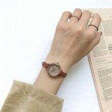 1 ud. De relojes marrones Retro para mujer, relojes de pulsera pequeños de calidad para mujer, reloj de pulsera de cuero Vintage, reloj de marca de moda para mujer 2020