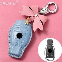 Housse de clé de voiture en cuir, étui pour Mercedes Benz A B GLC CLA GLA CLS S E C Clk Slk classe W203 W210 W211 W204 W205 W212 W176 W222 AMG