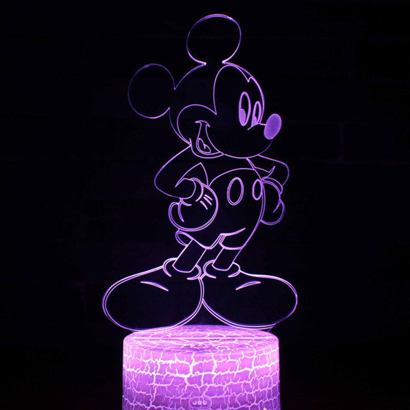 Novelty Cute Mickey Minnie Mouse 3D LED Lamp Night Light Decor Kid Christmas Gift Toy Led Night Lamp