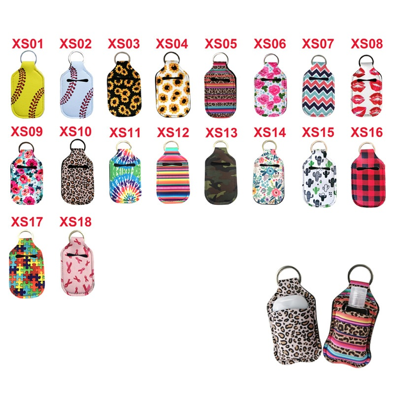 200pcs/lot Neoprene Hand Keyring 30ML Sanitizer Bottle Holder Keychain Bags Key Rings Hand Soap Bottle Holder 10*6cm