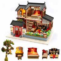 Diy gran chino retro muñeca Casa de muñeca de madera casas dormitorio villa en miniatura casa de muñecas kast muebles kit de jugetes para niños