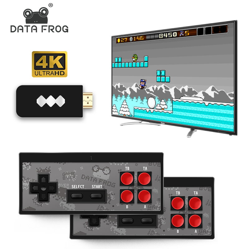 Data Frog Mini 4K Video Game Console Dual Players and Retro Build in REAL 568 Classic Games Wirless Controller HDMI AV Output