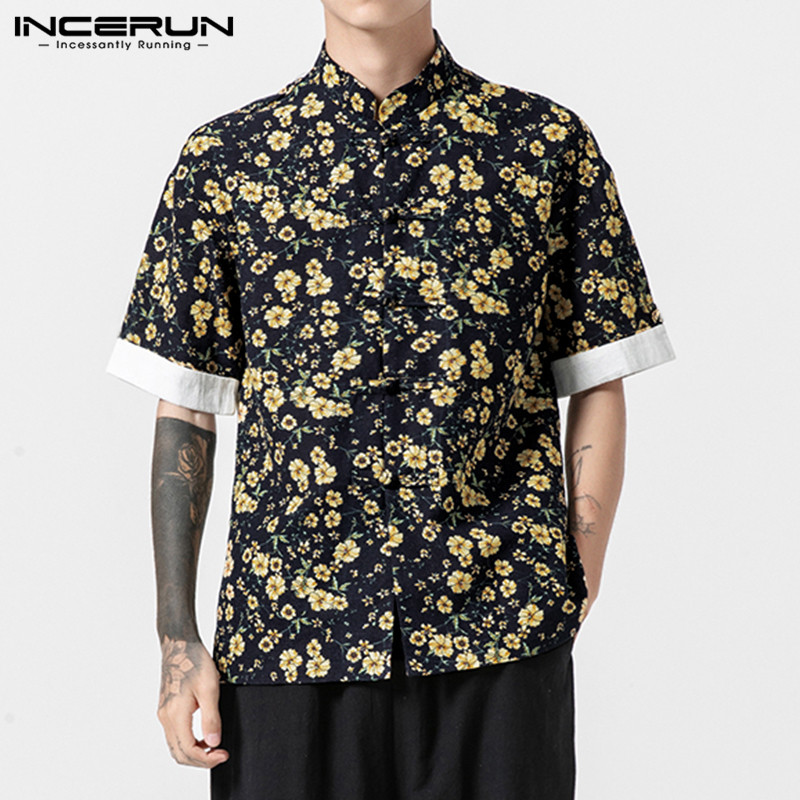 <font><b>Vintage</b></font> <font><b>Men</b></font> <font><b>Shirt</b></font> Floral Print Short Sleeve Stand Collar Cotton <font><b>Linen</b></font> Tops Casual Brand <font><b>Shirt</b></font> <font><b>Men</b></font> Streetwear Camisa INCERUN 2019 image