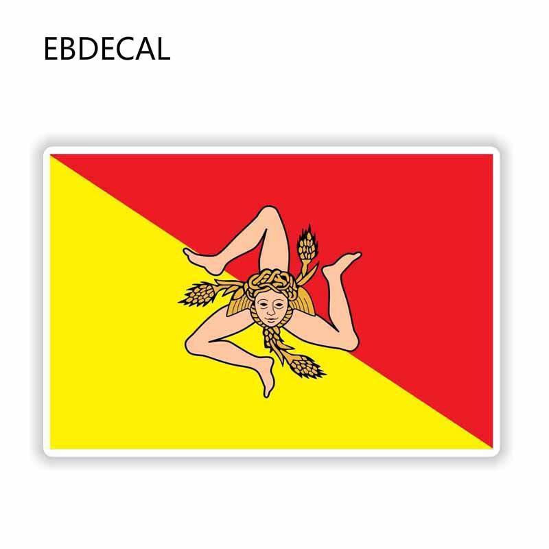 EBdecal  Sicilia Sicily Italy Flag  For Auto Car/Bumper/Window/Wall Decal Sticker Decals DIY Decor CT11784