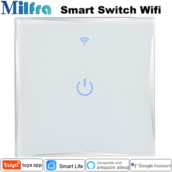 Europe Wifi Smart Light Switch Glass Panel 1 2 3 Gang 86*86mm Touch Voice Phone app Control for Google Assistant Alexa Tuya - discount item  52% OFF Electrical Equipment & Supplies