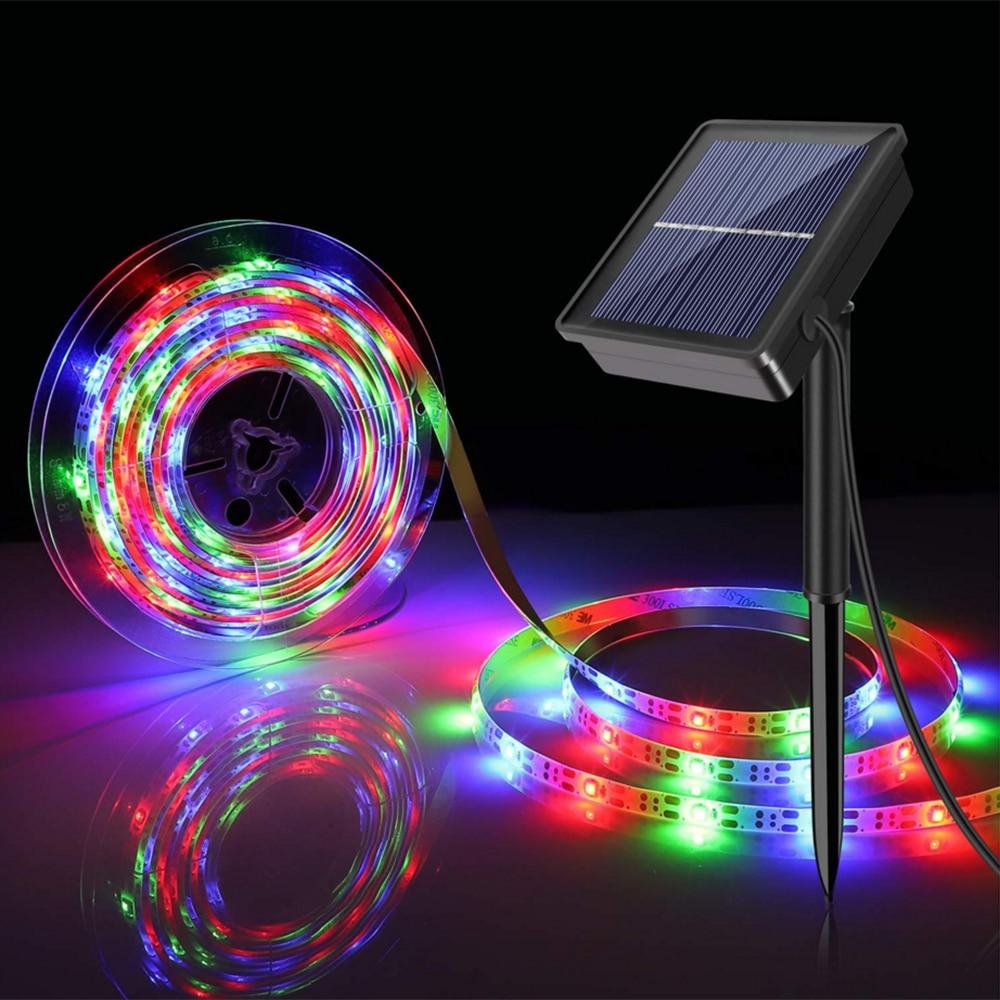 DC2V Solar Powered LED Strip Light 3m 5m SMD2835 30LED/m Waterproof LED Tape Flexible LED Ribbon RGB Tape For Outside Decoration