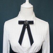 Женская рубашка с воротником и бантом, украшенная стразами, для свадьбы, бизнеса, Рождества, галстук для девочки, Униформа, лента, галстук-бабочка