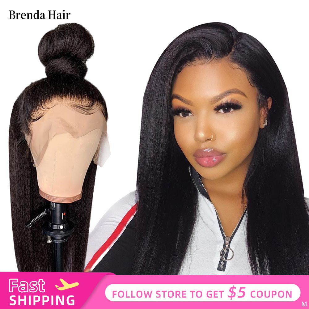 Brenda Hair Kinky Straight Wig 13x6 Lace Front Human Hair Wigs For Women Pre Plucked With Baby Hair Brazilian Remy Human Wig