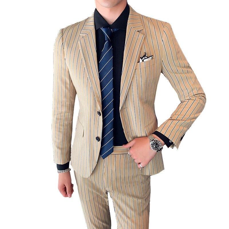 Khaki Suit Two-piece Suit Fashion City England Wind Stripes Slim Banquet Suit Suit Groom Wedding Dress Men Gentleman Coat Pants