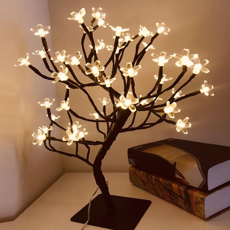 Led Bonsai Tree Lights Cherry Blossom Usb Powered Decorative Crystal Flower Night Light Desk Tablet Decoration Led Table Lamps Aliexpress