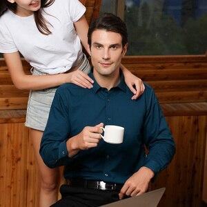 Image 5 - גברים רגילה fit של ארוך שרוול למתוח טיפול קל חולצת פורמליות משרד עסקי/עבודה ללבוש במבוק סיבים מוצק חברתי שמלת חולצות