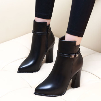 Women 7CM/9CM High Heel Pointed Toe Ankle Boots Fashion Side Zipper Dress Boots Short Plush Winter Black Leather Shoes CH-A0000