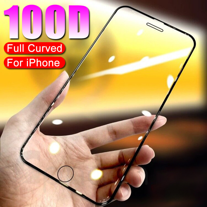 100D Tempered Glass On The For IPhone X 7 8 6 6S Plus Screen Protector Full Cover Protective Glass IPhone XR XS 11 Pro Max Film