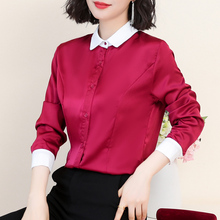 Korean Women Silk Blouses Shirt Elegant Women Satin Tops Blouse Womens Tops and Blouses Blusas Mujer De Moda OL Shirt Plus Size цена
