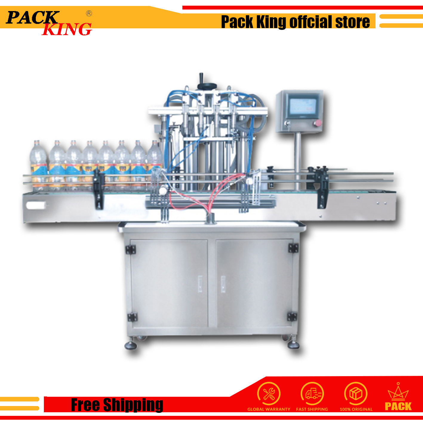 Automatic Liquid Filling Machine Water Juice Shampoo Filler Automatical Auto Filler Heads With Conveyor Plc Control Send By Sea