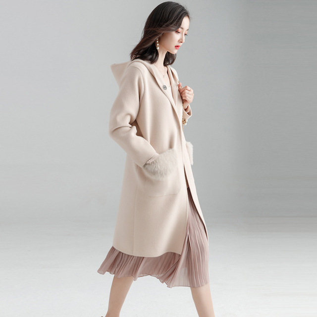 Fishion Office Lady Hooded Long Woolen Winter Coats Women Covered Button Wool Coat And Jacket Loose Pockets Solid Ladies Coats 1